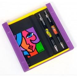 Caja libreta bolsillo + bolígrafo + portaminas. Olivia