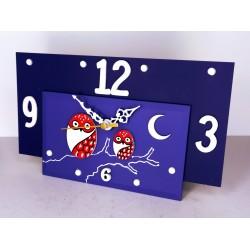 15. Reloj retangular madera y cristal 14x24cm. Búhos rojos.