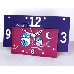 14. Reloj retangular madera y cristal 14x24cm. Búhos azules.