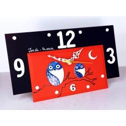 16. Reloj retangular madera y cristal 14x24cm. Búhos azules.