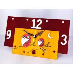 17. Reloj retangular madera y cristal 14x24cm. Búhos rojos