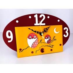 13. Reloj ovalado madera y cristal 14x24cm. Búhos rojos.