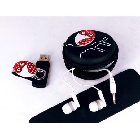 Set pen drive 32GB + auriculares + estuche redondo. Negro