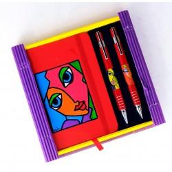 Caja libreta bolsillo + bolígrafo + portaminas. Petra