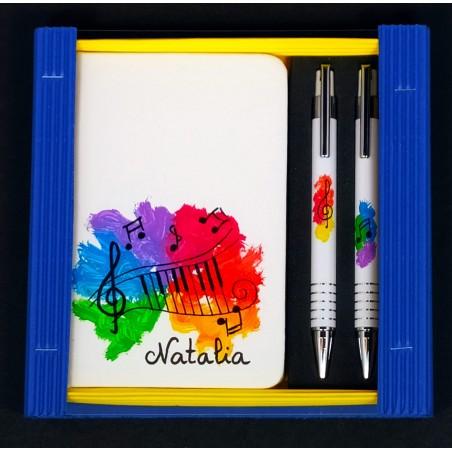 Caja libreta bolsillo + bolígrafo + portaminas. Piano