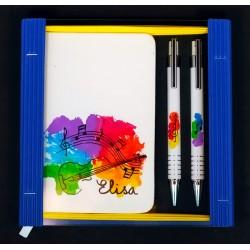 Caja libreta bolsillo + bolígrafo + portaminas. Violín