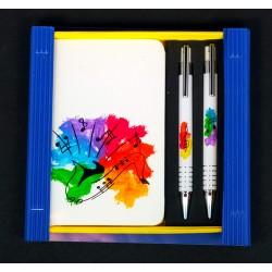 Caja libreta bolsillo + bolígrafo + portaminas. Saxo