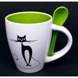 Taza desayuno con cuchara....